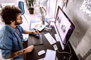 digital-artist-working-at-home-how-to-make-nft-art
